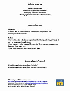 Identifying Variables Worksheet Answers Elegant Free Identifying Variables Practice by Science Teacher