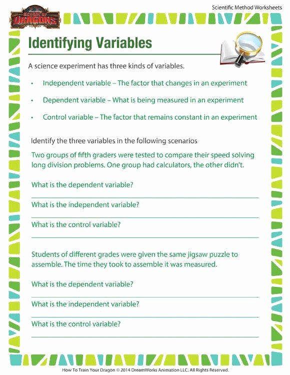 Identifying Variables Worksheet Answers Elegant Identifying Variables Worksheet