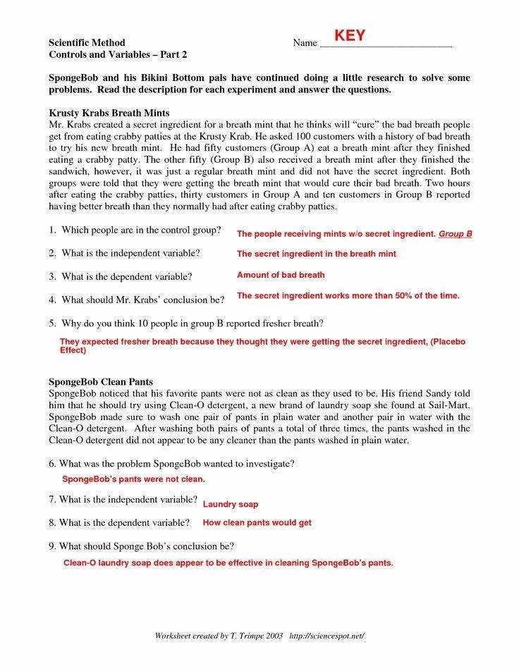 Identifying Variables Worksheet Answers Fresh Identifying Variables Worksheet