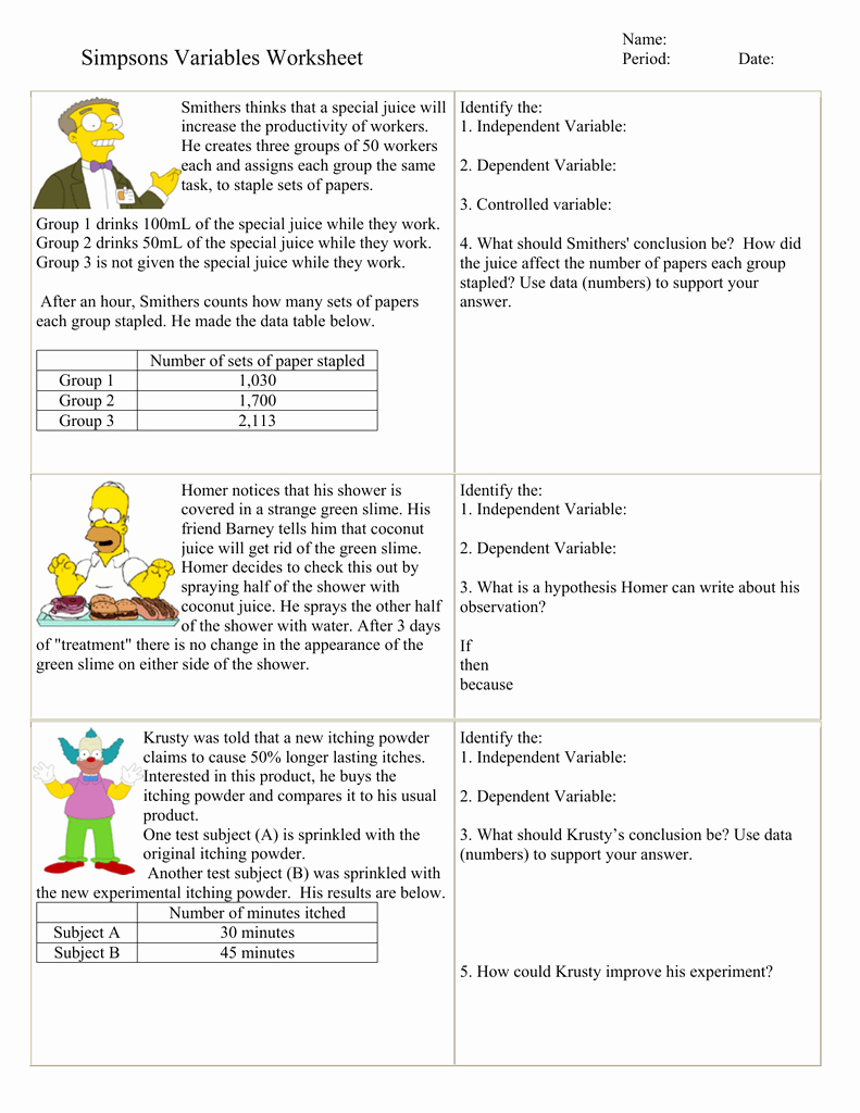 Identifying Variables Worksheet Answers Inspirational Simpsons and Human Genetic Probability Worksheet Answers