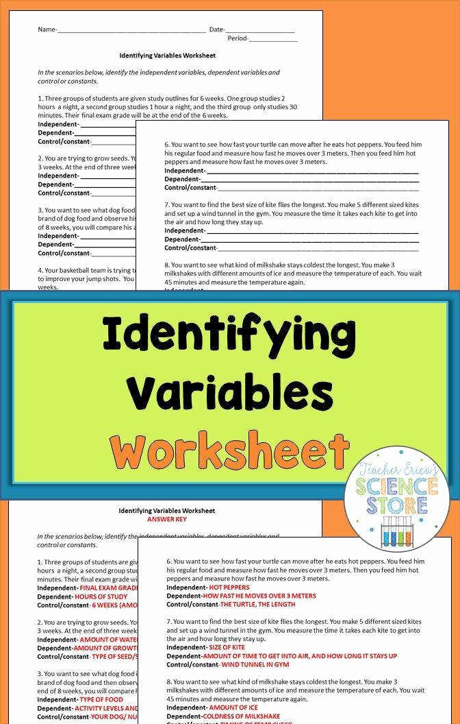 Identifying Variables Worksheet Answers Unique Identifying Variables Worksheet