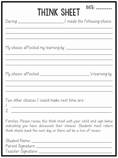 In School Suspension Worksheet Fresh Best 20 Think Sheet Ideas On Pinterest