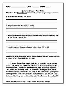 In School Suspension Worksheet Inspirational Behavior Reflection Paragraph Worksheet by Elizabeth