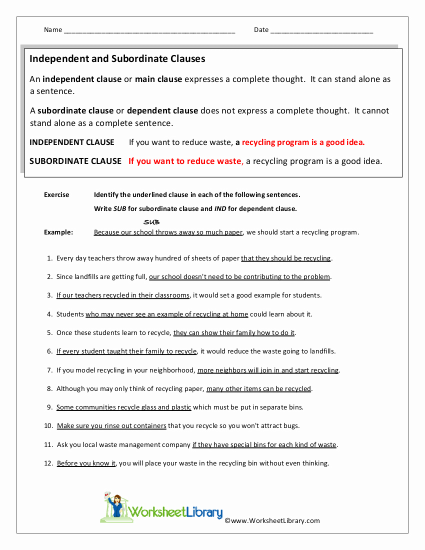 Independent and Dependent Clauses Worksheet Inspirational 6 Subordinate Clause Examples In Pdf