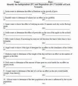 Independent and Dependent Variables Worksheet Awesome Independent and Dependent Variable Worksheet