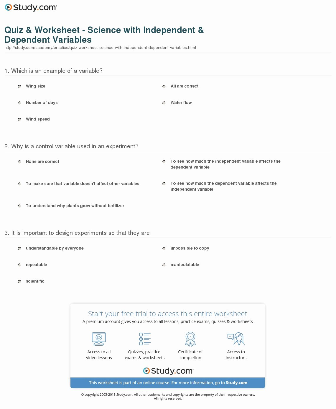 Independent and Dependent Variables Worksheet Beautiful Quiz & Worksheet Science with Independent & Dependent