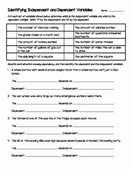 Independent and Dependent Variables Worksheet Elegant Identifying Independent and Dependent Variables In Math