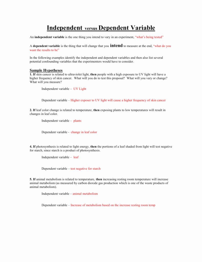 Independent Dependent Variable Worksheet Inspirational Independent Versus Dependent Variable Worksheet