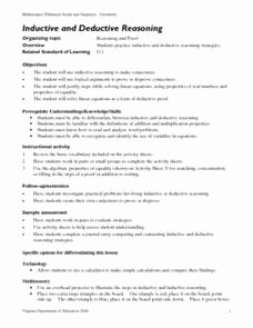 Inductive and Deductive Reasoning Worksheet Inspirational Inductive and Deductive Reasoning 9th 12th Grade Lesson