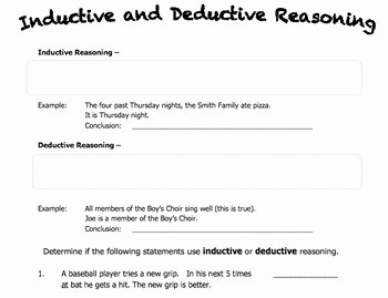 Inductive and Deductive Reasoning Worksheet Inspirational Worksheet On Inductive and Deductive Reasoning by Rebecca