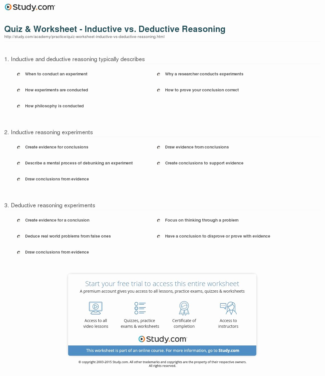 Inductive and Deductive Reasoning Worksheet Luxury Quiz & Worksheet Inductive Vs Deductive Reasoning