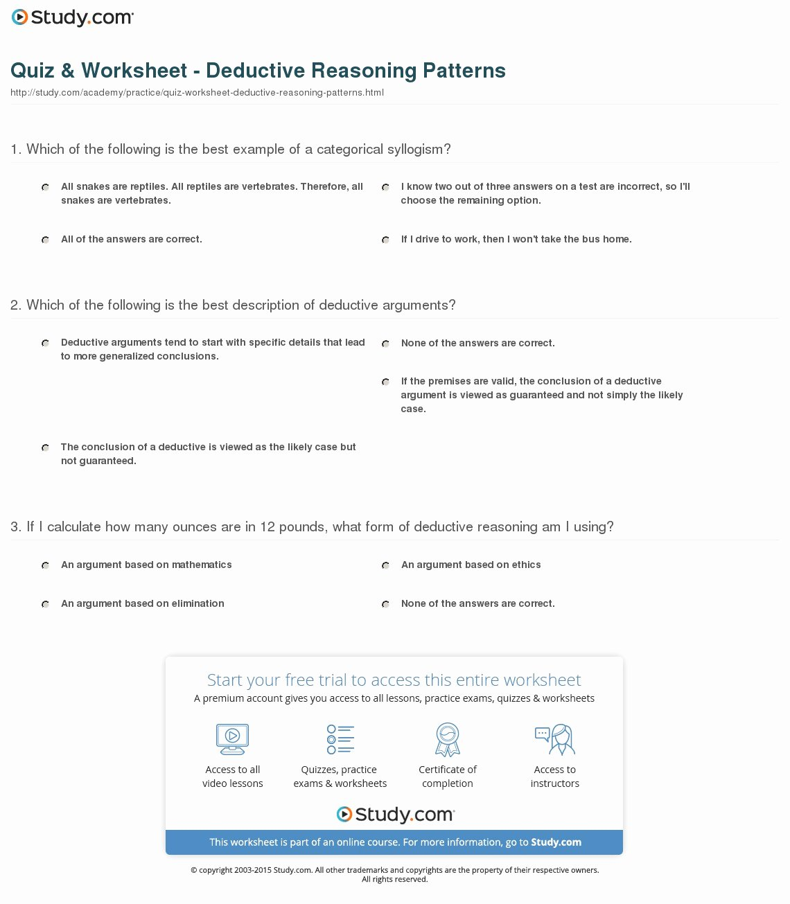 Inductive and Deductive Reasoning Worksheet New Quiz & Worksheet Deductive Reasoning Patterns