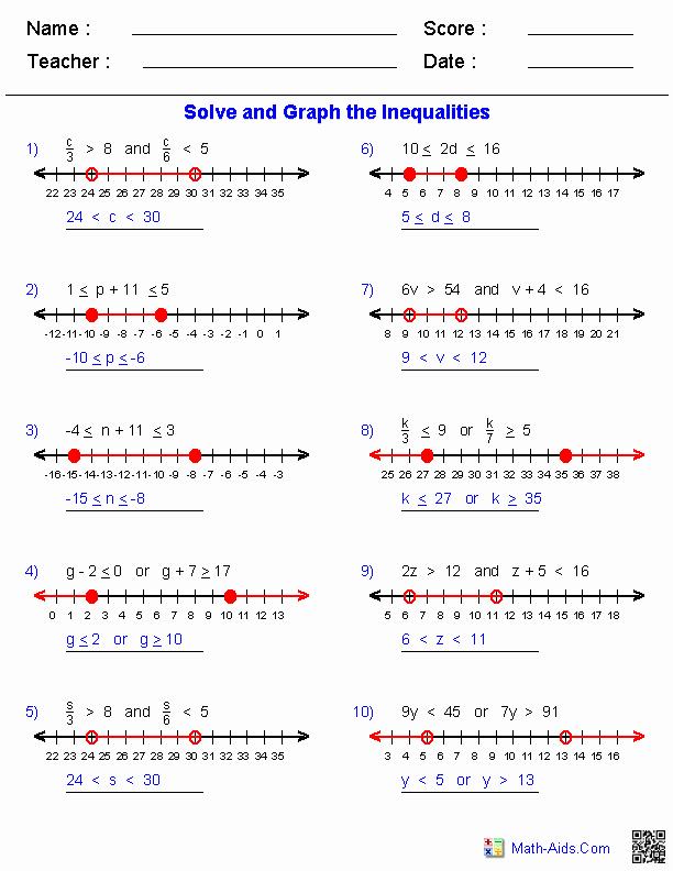Inequalities Worksheet with Answers Best Of Algebra 1 Worksheets