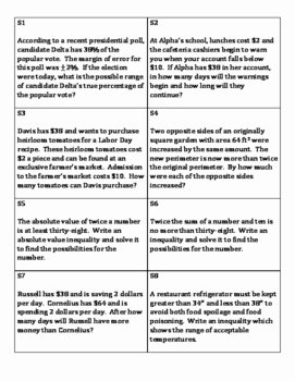 Inequality Word Problems Worksheet Elegant Matching Activity solving Inequality Word Problems