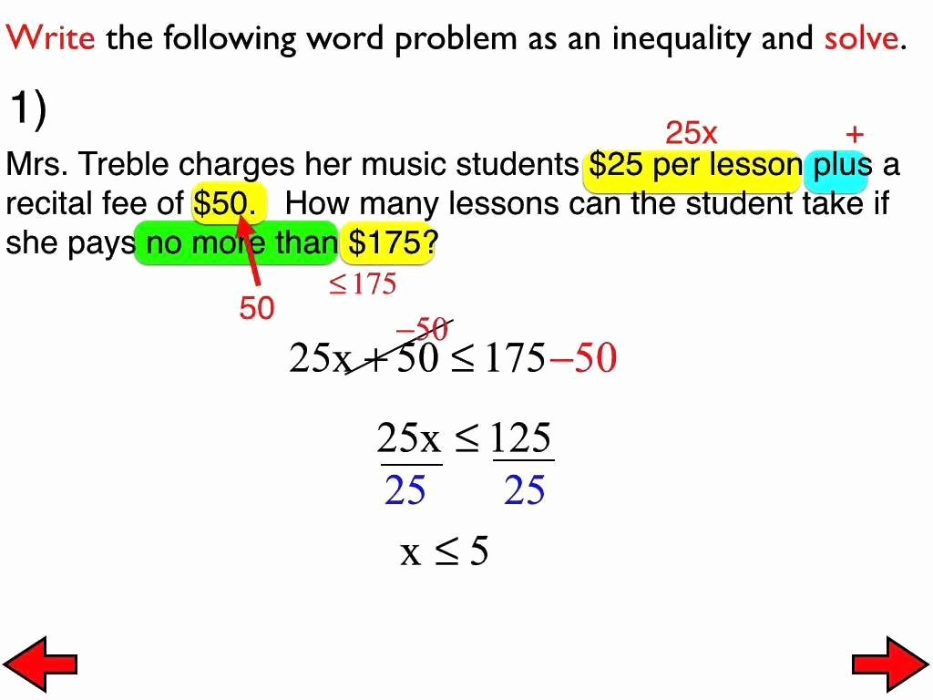 Inequality Word Problems Worksheet Elegant Two Step Inequalities Worksheet