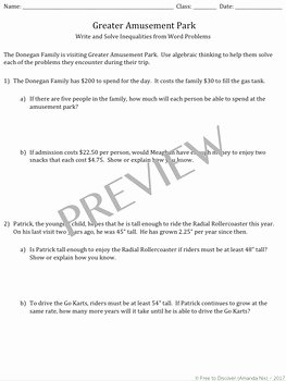 Inequality Word Problems Worksheet Lovely Linear Inequalities Word Problems Discovery Worksheet by