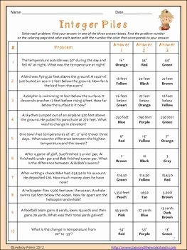 Integer Word Problems Worksheet Awesome Word Problems Homework and Coloring Pages On Pinterest