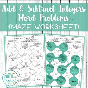 Integer Word Problems Worksheet Beautiful Adding and Subtracting Integers Word Problems Maze