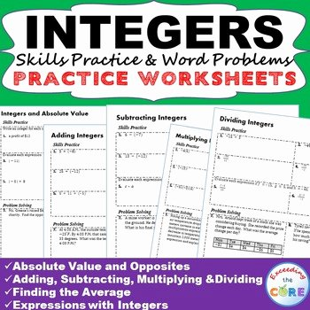 Integer Word Problems Worksheet Beautiful Integers Homework Practice Worksheets Skills Practice