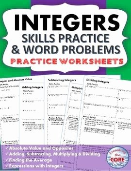 Integer Word Problems Worksheet Inspirational Integers Homework Practice Worksheets Skills Practice