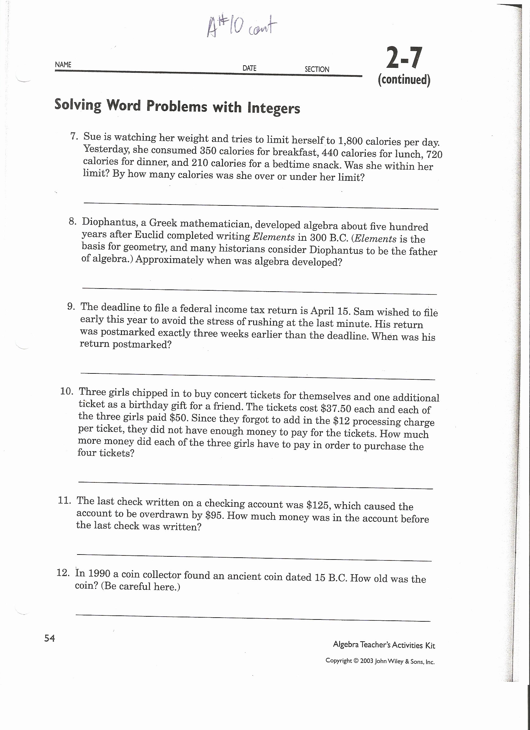 Integer Word Problems Worksheet Inspirational Subtracting Integers Word Problems Worksheet