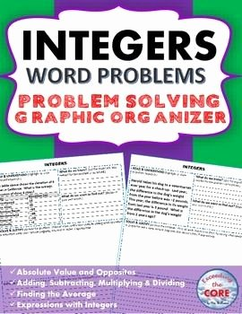 Integer Word Problems Worksheet Luxury Integers Word Problems with Graphic organizer