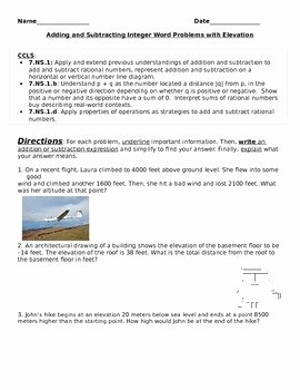 Integer Word Problems Worksheet Unique Adding and Subtracting Integers Word Problems with