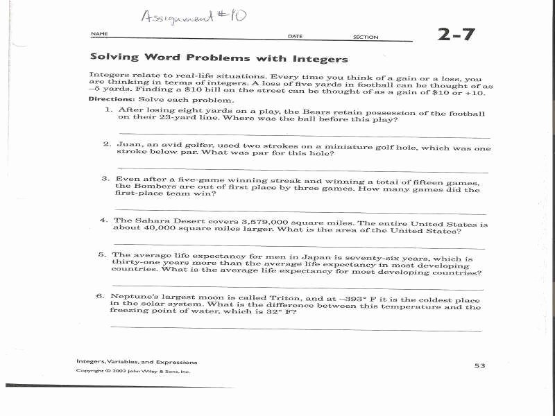 Integers Word Problems Worksheet Awesome Integer Word Problems Worksheet