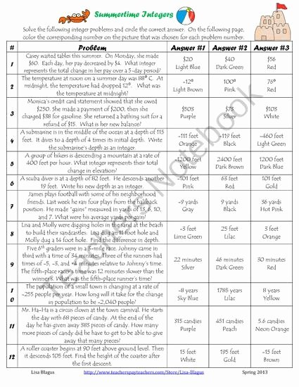 Integers Word Problems Worksheet Beautiful Free All Operation Integer Word Problems Summertime