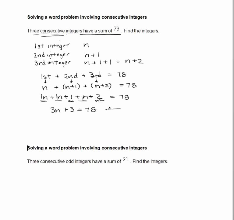 Integers Word Problems Worksheet Best Of solving A Word Problem Involving Consecutive Integers