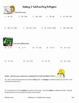 Integers Word Problems Worksheet Fresh Adding & Subtracting Integers 20 Problems with Answer