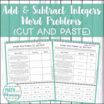 Integers Word Problems Worksheet Fresh Adding and Subtracting Integers Word Problems Cut and