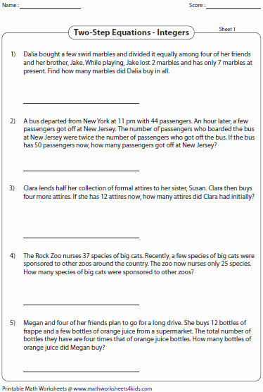 Integers Word Problems Worksheet Fresh Equation Word Problems Worksheets