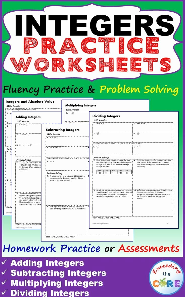 Integers Word Problems Worksheet Fresh Integers Homework Practice Worksheets Skills Practice