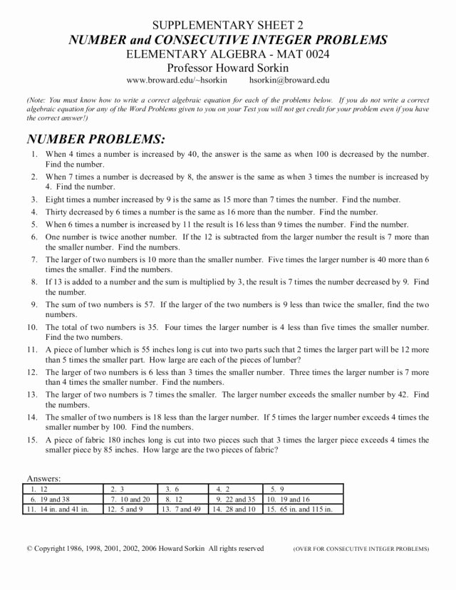Integers Word Problems Worksheet Fresh Number and Consecutive Integer Problems Worksheet for 9th