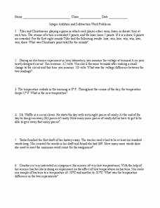 Integers Word Problems Worksheet Inspirational Integer Addition and Subtraction Word Problems 6th 8th