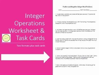 Integers Word Problems Worksheet Inspirational Integer Positive and Negative Word Problems Worksheet