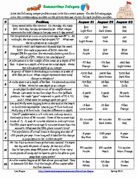 Integers Word Problems Worksheet Lovely Free All Operation Integer Word Problems by Lisa Blagus