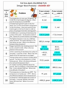 Integers Word Problems Worksheet Luxury Integers Adding & Subtracting Word Problems Color Sheet