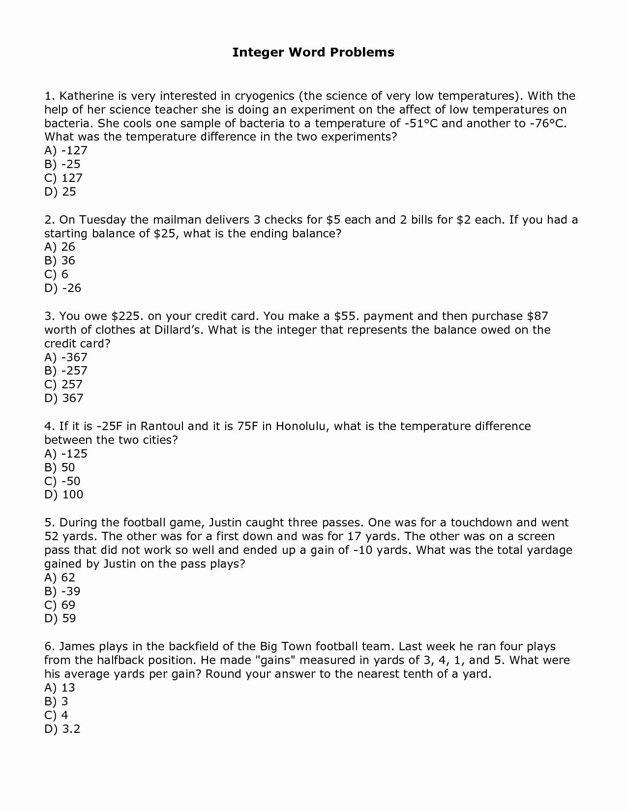 Integers Word Problems Worksheet New Worksheet Adding and Subtracting Integers Addition