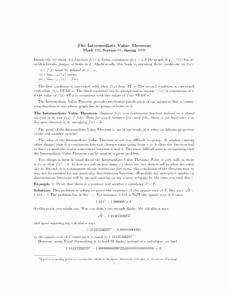 Intermediate Value theorem Worksheet Elegant Intermediate Value theorem Lesson Plans & Worksheets
