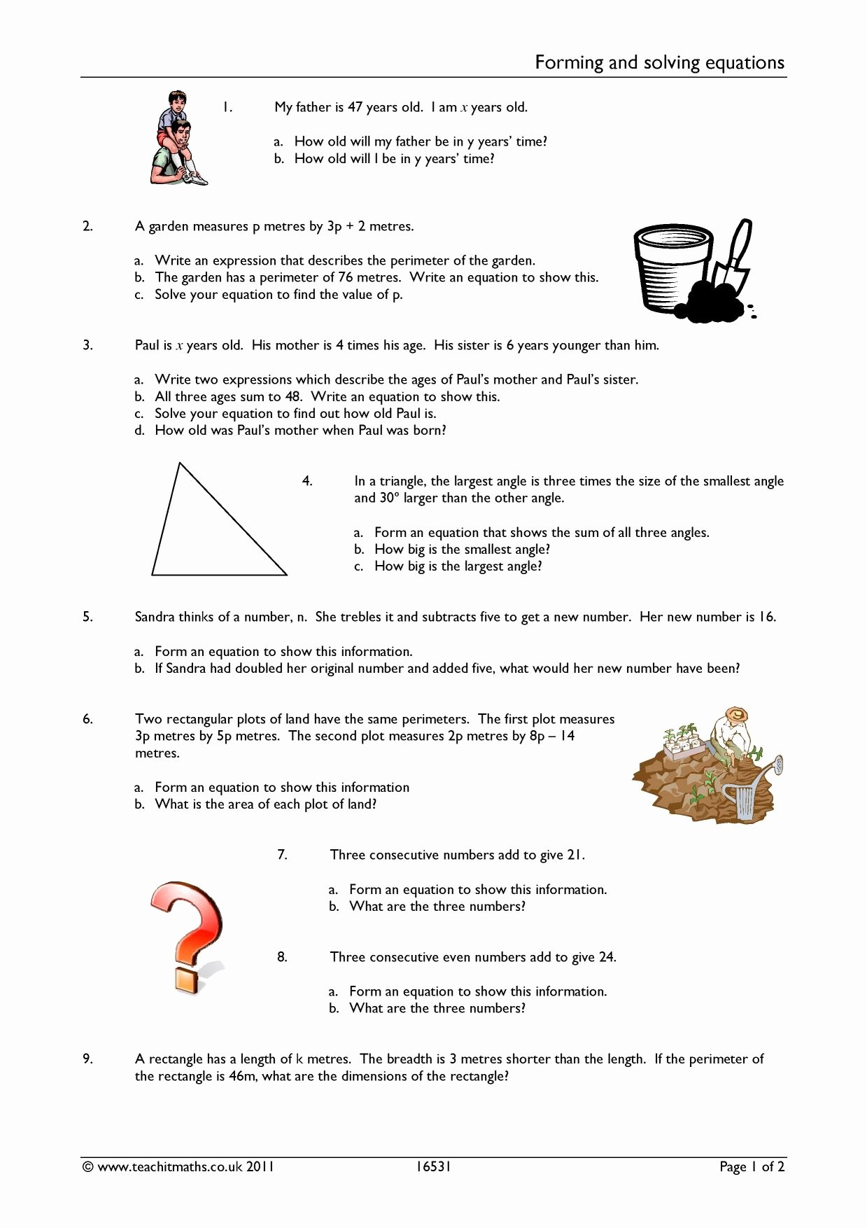 Intermediate Value theorem Worksheet Inspirational forming and solving Equations Algebra Linear Equations
