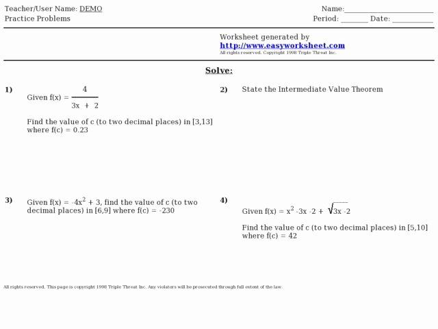 Intermediate Value theorem Worksheet Lovely Intermediate Value theorem Problems Worksheet for 12th