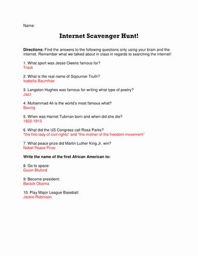 Internet Scavenger Hunt Worksheet Awesome Black History Month Internet Scavenger Hunt by Lwmund