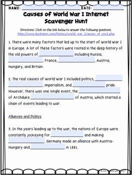 Internet Scavenger Hunt Worksheet Best Of Causes Of World War I Internet Scavenger Hunt Webquest
