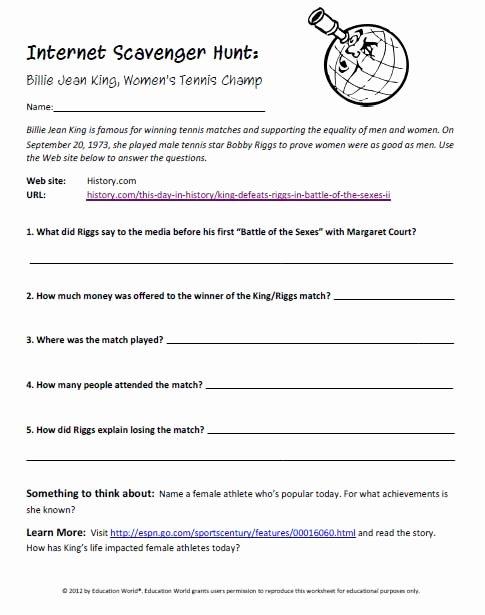 Internet Scavenger Hunt Worksheet Fresh Internet Scavenger Hunt Billie Jean King Women S Tennis