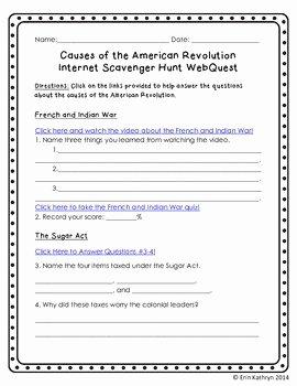 Internet Scavenger Hunt Worksheet New Causes Of the American Revolution Internet Scavenger Hunt
