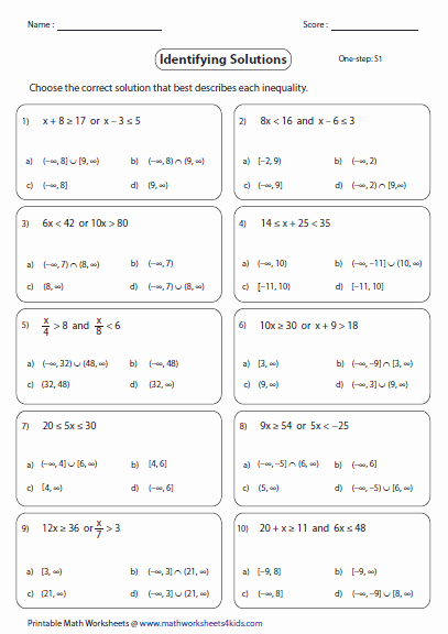 Interval Notation Worksheet with Answers Beautiful Pound Inequalities Worksheets