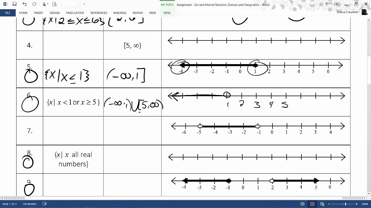 Interval Notation Worksheet with Answers Fresh Interval Notation Worksheet with Answers Breadandhearth