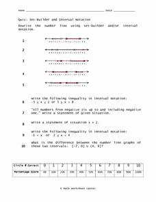 Interval Notation Worksheet with Answers Fresh Set Builder and Interval Notation 9th Grade Worksheet